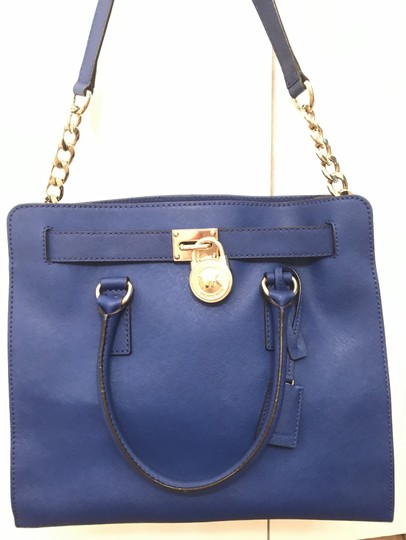Michael Kors North South Gold Satchel Shoulder Handle Tote in Sapphire Blue Image 6