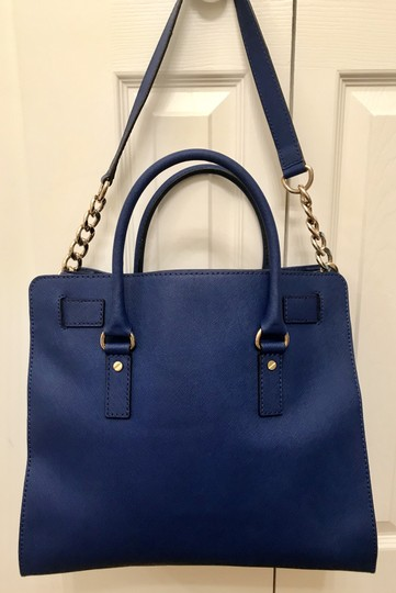Michael Kors North South Gold Satchel Shoulder Handle Tote in Sapphire Blue Image 7