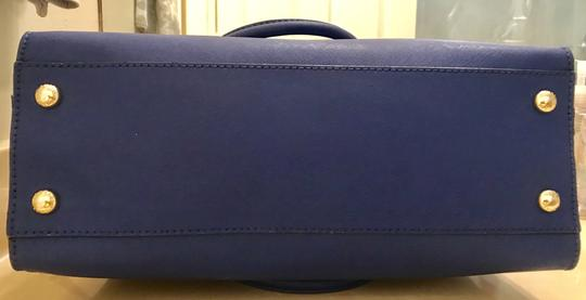 Michael Kors North South Gold Satchel Shoulder Handle Tote in Sapphire Blue Image 8
