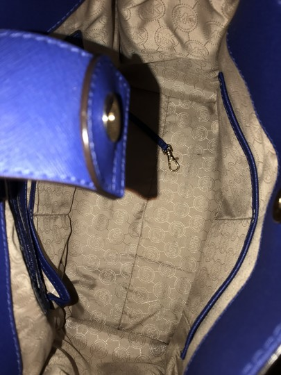 Michael Kors North South Gold Satchel Shoulder Handle Tote in Sapphire Blue Image 9