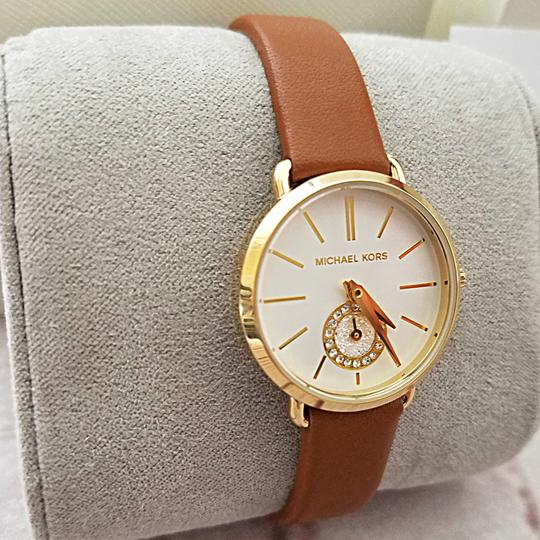 Michael Kors New Women's Gold-Tone and Luggage Leather Portia Watch MK2734 Image 2