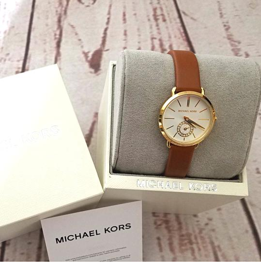 Michael Kors New Women's Gold-Tone and Luggage Leather Portia Watch MK2734 Image 3