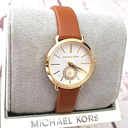 Michael Kors New Women's Gold-Tone and Luggage Leather Portia Watch MK2734 Image 4