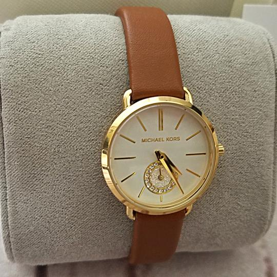 Michael Kors New Women's Gold-Tone and Luggage Leather Portia Watch MK2734 Image 5