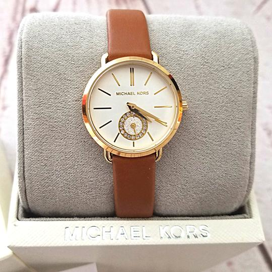Michael Kors New Women's Gold-Tone and Luggage Leather Portia Watch MK2734 Image 6