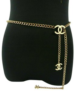 Chanel CHANEL 06 V White Enamel CC Charm Gold Plated Chain Belt 7482