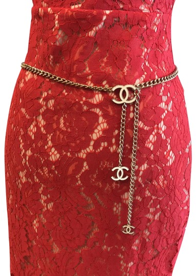 Chanel CHANEL 06 V White Enamel CC Charm Gold Plated Chain Belt 7482 Image 1