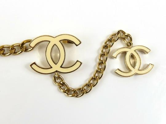 Chanel CHANEL 06 V White Enamel CC Charm Gold Plated Chain Belt 7482 Image 10