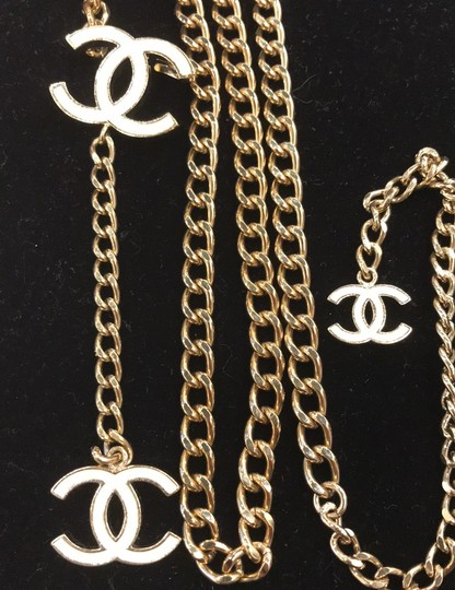 Chanel CHANEL 06 V White Enamel CC Charm Gold Plated Chain Belt 7482 Image 6