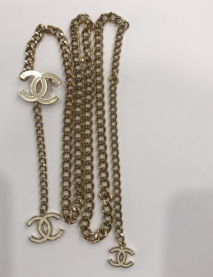 Chanel CHANEL 06 V White Enamel CC Charm Gold Plated Chain Belt 7482 Image 7