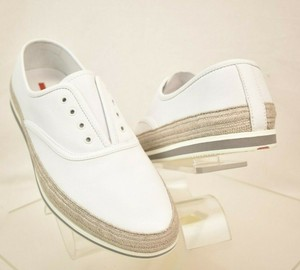 Prada White Aviator Leather Contrast Platform Slip On Laceless Sneakers 10 Us 11 Shoes