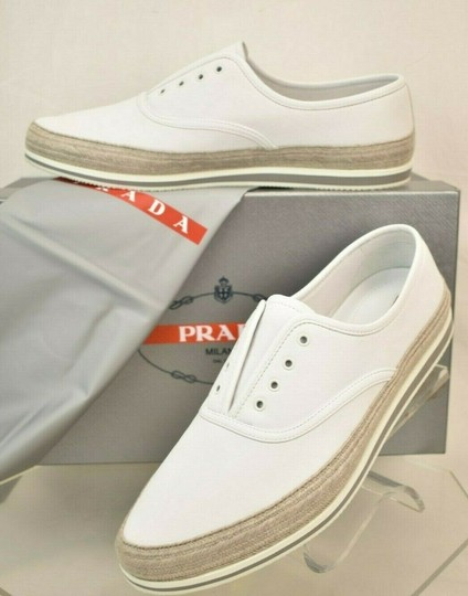 Prada White Aviator Leather Contrast Platform Slip On Laceless Sneakers 10 Us 11 Shoes Image 1