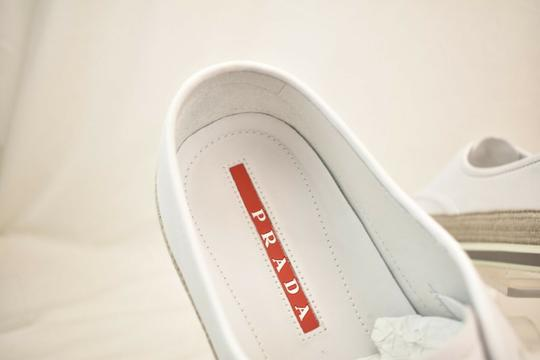 Prada White Aviator Leather Contrast Platform Slip On Laceless Sneakers 10 Us 11 Shoes Image 10