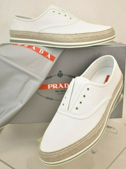 Prada White Aviator Leather Contrast Platform Slip On Laceless Sneakers 10 Us 11 Shoes Image 2