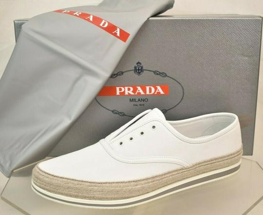Prada White Aviator Leather Contrast Platform Slip On Laceless Sneakers 10 Us 11 Shoes Image 3