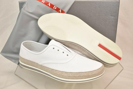 Prada White Aviator Leather Contrast Platform Slip On Laceless Sneakers 10 Us 11 Shoes Image 6