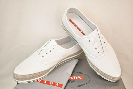 Prada White Aviator Leather Contrast Platform Slip On Laceless Sneakers 10 Us 11 Shoes Image 7
