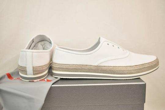 Prada White Aviator Leather Contrast Platform Slip On Laceless Sneakers 10 Us 11 Shoes Image 8