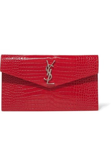 Saint Laurent Ysl Clutch Pouch Monogram Wristlet in red Image 0