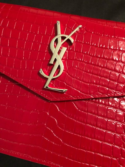 Saint Laurent Ysl Clutch Pouch Monogram Wristlet in red Image 5