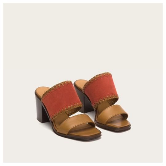 Frye Made In Italy Sandal Leather Suede orange Mules Image 1