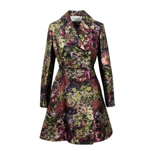 Valentino Floral Print Silk Polyester Belted Pea Coat