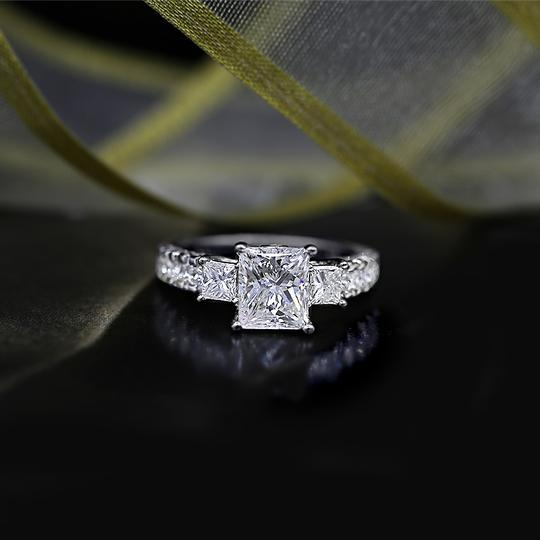 White Precious Gold with 3.00ct. Engagement Ring Image 2
