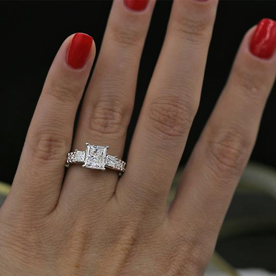 White Precious Gold with 3.00ct. Engagement Ring Image 3