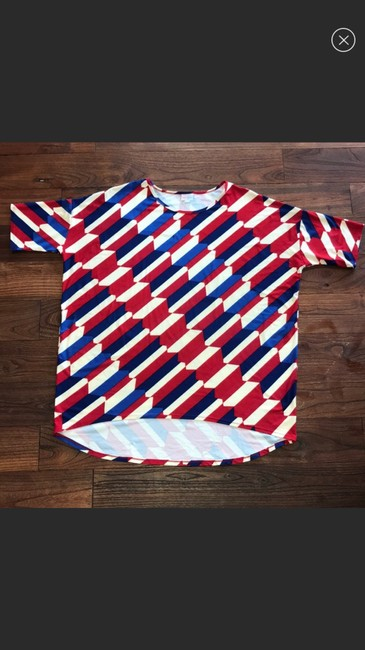 LuLaRoe Top red blue and white Image 2