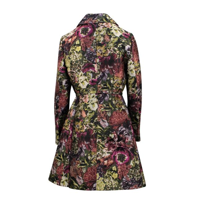 Valentino Floral Print Silk Polyester Belted Pea Coat Image 1