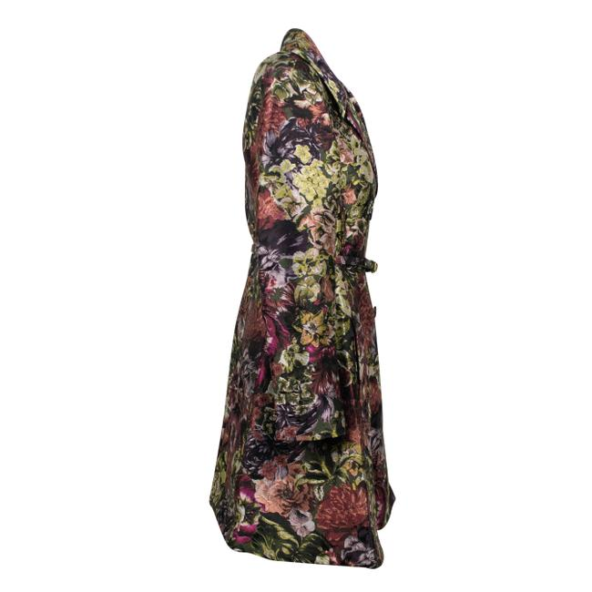 Valentino Floral Print Silk Polyester Belted Pea Coat Image 2
