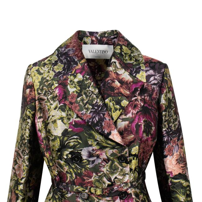 Valentino Floral Print Silk Polyester Belted Pea Coat Image 3