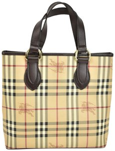 Burberry Beige Check Leather Brown Logo Tote