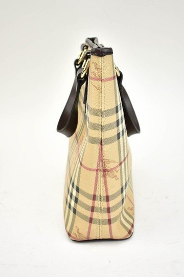 Burberry Beige Check Leather Brown Logo Tote Image 1