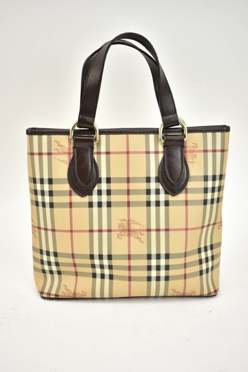 Burberry Beige Check Leather Brown Logo Tote Image 2