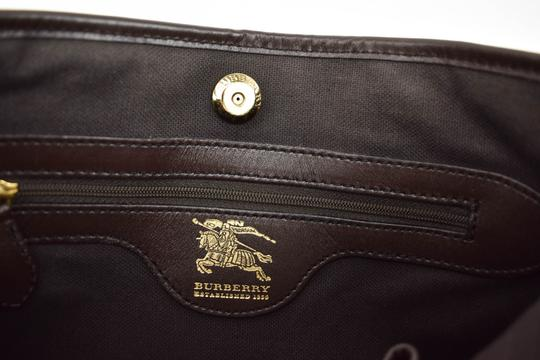 Burberry Beige Check Leather Brown Logo Tote Image 9