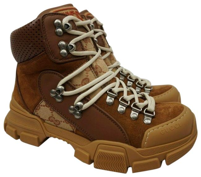 Item - Brown Women's Gg Canvas Leather Flashtrek High-top Lace-up Boots/Booties Size EU 37.5 (Approx. US 7.5) Regular (M, B)