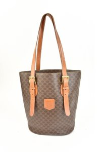 Céline Logo Brown Leather Shoulder Bag