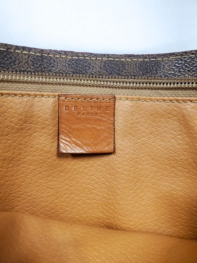 Céline Logo Brown Leather Shoulder Bag Image 11