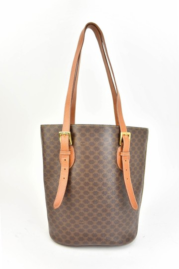 Céline Logo Brown Leather Shoulder Bag Image 3