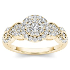 Elizabeth Jewelry 10Kt Yellow Gold 0.50 Ct Diamond Engagement Halo Ring