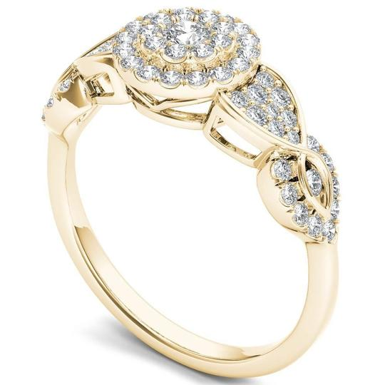 Elizabeth Jewelry 10Kt Yellow Gold 0.50 Ct Diamond Engagement Halo Ring Image 1