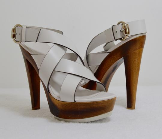 Gucci Wooden Strappy White Platforms Image 1