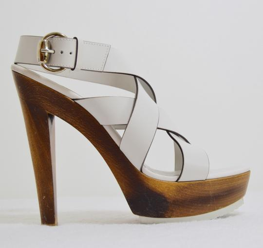 Gucci Wooden Strappy White Platforms Image 2