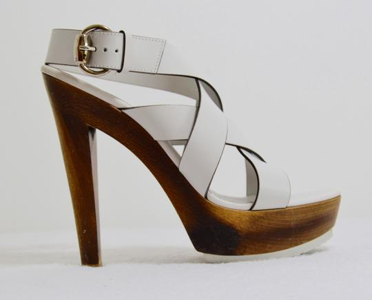 Gucci Wooden Strappy White Platforms Image 7
