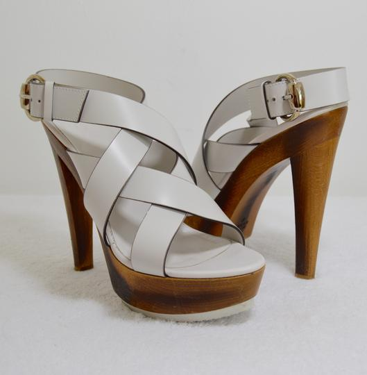 Gucci Wooden Strappy White Platforms Image 8