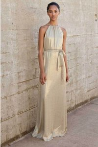 Amsale Gold Metallic Adele N378 Modern Bridesmaid/Mob Dress Size 8 (M)