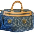 Louis Vuitton Satchel in blue denim. Image 0