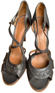 Bottega Veneta Woven Leather Heels dark olive/brown Pumps