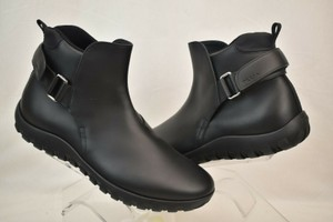 Prada Black Leather Belted Buckle Lettering Logo Strap Sneakers Boots 7 Us 8 Shoes